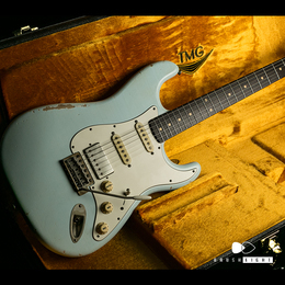 "【HOLD】TMG Guitar Co. Dover HSS ""Sonic Blue""Medium Aging & Hevy Checking 5A Flame & Brazilian"