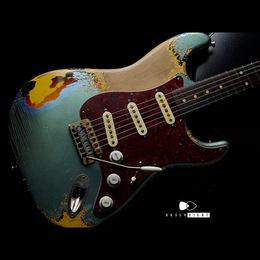 "【8SALE】TMG Guitar Co. Dover SSS ""Ice Blue Metallic & Sunburst""  5AFlame maple Hard Aged"