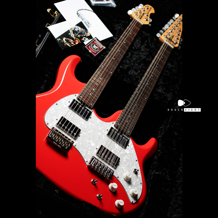 "【SOLD】MusicMan ""BFR"" Silhouette Double Neck ""Coral Red"""