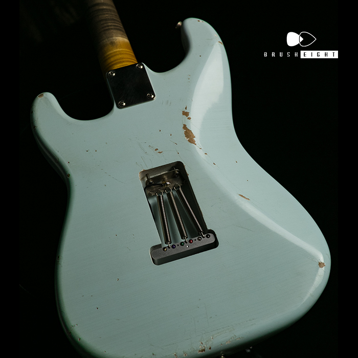 "【SOLD】TMG Guitar Co. Dover HSS ""Sonic Blue""Medium Aging & Hevy Checking 5A Flame & Brazilian"