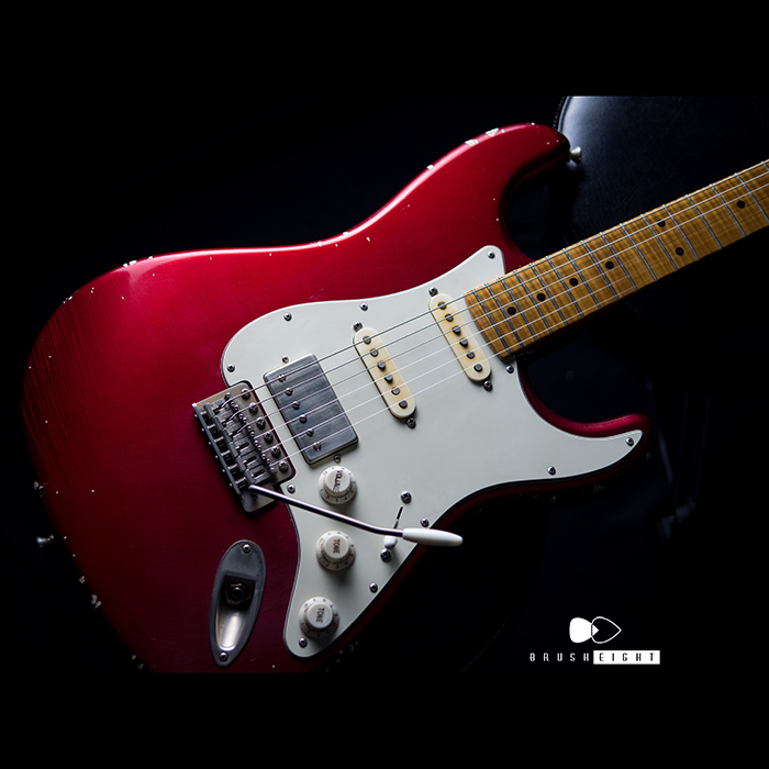 "【SOLD】TMG Guitar Co. Dover HSS ""Candy Apple Red""  5AFlame maple 22F Soft Aged & Midium Checking"