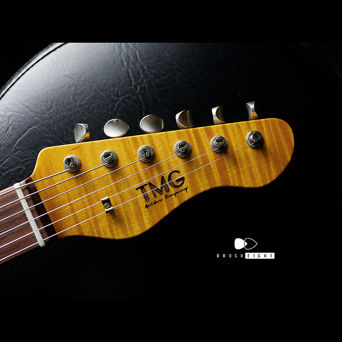 "【SOLD】TMG Guitar Co. Dover SSS 22F ""Bronde & Burgandy Mist ""   5A Super Flame & Brazilian Board"