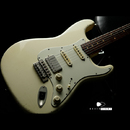 "TMG Guitar Co. Dover HSS ""White Blonde"" Medium Aging 5A Flame"